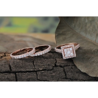 De Couer 10k Rose Gold 2ct TDW Diamond Cluster Engagement Ring Set with Two Band
