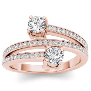 De Couer 14k Rose Gold 1/2ct TDW Diamond Two-Stone Ring (H-I, I2)