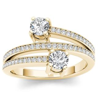 De Couer 14k Yellow Gold 1/2ct TDW Diamond Two-Stone Ring