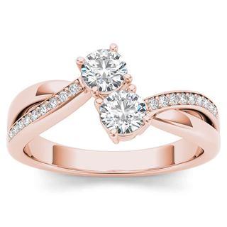 De Couer 14k Rose Gold 1/4ct TDW Diamond 2-Stone Ring (H-I, I2)