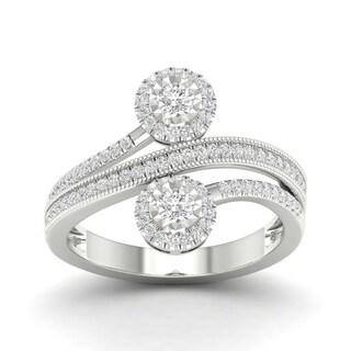 De Couer 14k White Gold 1/2ct TDW Diamond Halo Two-Stone Ring (H-I, I2)