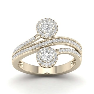 De Couer 14k Yellow Gold 1/2ct TDW Diamond Halo Two-Stone Ring
