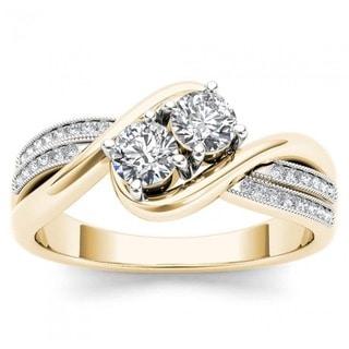 De Couer 14k Yellow Gold 1/2ct TDW Diamond Halo Two-Stone Ring (H-I, I2)