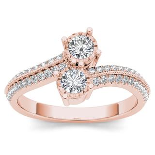 De Couer 14k Rose Gold 1/2ct TDW Diamond Halo 2-Stone Ring (H-I, I2)