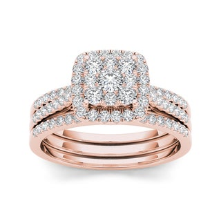 De Couer 10k Rose Gold 1ct TDW Diamond Cluster Engagement Ring Set with Two Bands - Pink