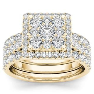 De Couer 10k Yellow Gold 2ct TDW Diamond Cluster Engagement Ring Set with Two Band (H-I, I2)