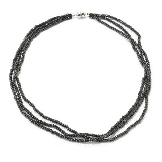 Sterling Silver Black Spinel 3-Stand Bead Necklace (18 or 24 inches)