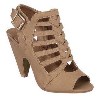 Beston Cb94 Mid Heel Peep Toe Cut Out Cage Style Sandals