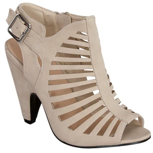 53b97d0dd85 Beston Cb93 Women  x27 s Mid Heel Peep Toe Cut Out Cage Style Sandals