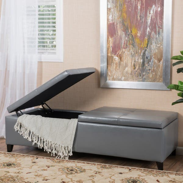 Groovy Shop Alfred Faux Leather Large Storage Ottoman Bench By Dailytribune Chair Design For Home Dailytribuneorg