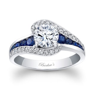 Barkev's Designer 14k White Gold 1 1/5ct TDW Diamond and Blue Sapphire Engagement Ring (F-G, SI1-SI2)