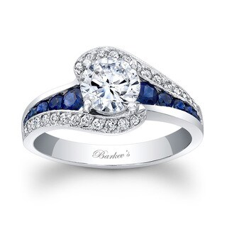 Barkev's Designer 14k White Gold 1 1/5ct TDW Diamond and Blue Sapphire Engagement Ring
