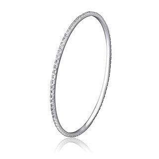 Collette Z Sterling Silver Cubic Zirocnia Accent Bangle Bracelet