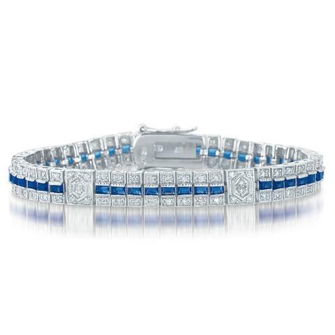 Collette Z Sterling Silver Clear and Blue Cubic Zirocnia Stripe Bracelet