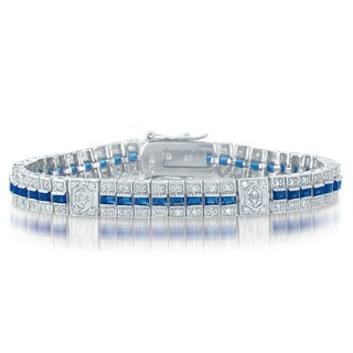 Collette Z Sterling Silver Clear and Blue Cubic Zirocnia Stripe Bracelet