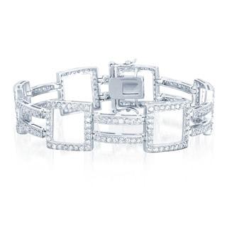 Collette Z Sterling Silver Cubic Zirocnia Open Square Link Bracelet