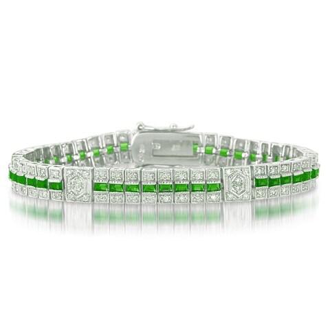 Collette Z Sterling Silver Clear and Green Cubic Zirocnia Stripe Bracelet