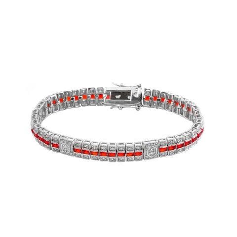 Collette Z Sterling Silver Clear and Red Cubic Zirocnia Stripe Bracelet