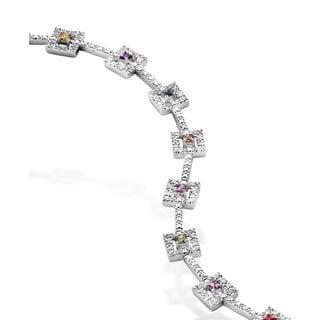 Collette Z Sterling Silver Cubic Zirocnia Framed Square Bracelet