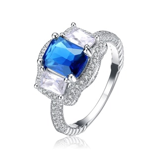 Collette Z Sterling Silver Ocean Blue Cubic Zirconia Solitaire Ring