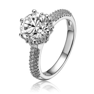 Collette Z Sterling Silver 6 Carat Round Clear Cubic Zirconia Solitaire Ring