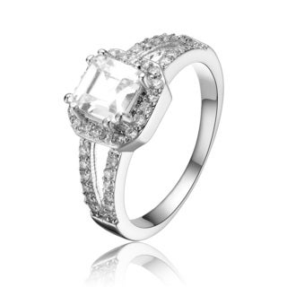Collette Z Sterling Silver Princess Cubic Zirconia Solitaire Ring