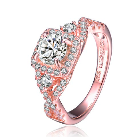 Collette Z Rose Gold Overlay Round Cut Cubic Zirconia Solitaire with Square Mounting Ring - White