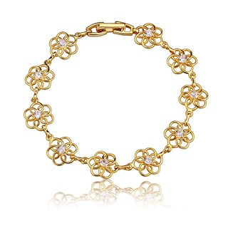 Collette Z Gold Overlay Clear Cubic Zirconia Accent Flower Bracelet