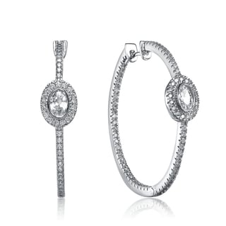 Collette Z Sterling Silver Cubic Zirconia Solitaire Accent Hoop Earrings