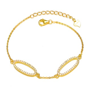Collette Z Gold Overlay Cubic Zirconia Fancy Double Oval Bangle