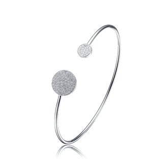 Collette Z Sterling Silver Cubic Zirconia Double Solid Circle Bangle