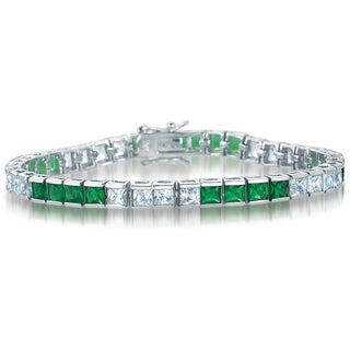 Collette Z Sterling Silver Green and Clear Cubic Zirocnia Skinny Bracelet