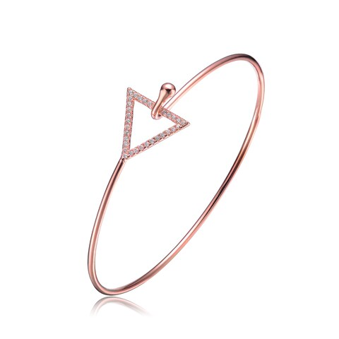 Collette Z Rose Gold Overlay Cubic Zirconia Triangle Clasp Bangle