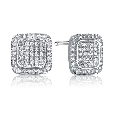 Collette Z Sterling Silver Cubic Zirconia Pave Square Button Earrings - White