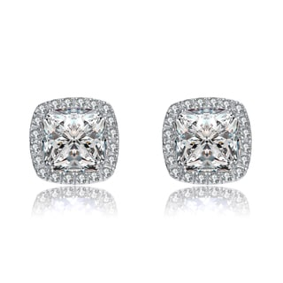 Collette Z Sterling Silver Square Cubic Zirconia Encrusted with Halo Button Earrings