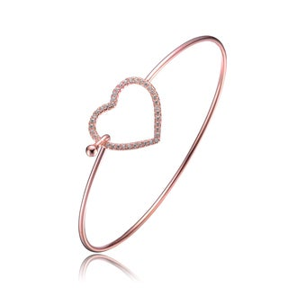 Collette Z Rose Gold Overlay Cubic Zirconia Heart Clasp Bangle