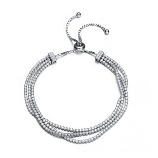 Collette Z Sterling Silver Clear Cubic Zirconia Twisted Strand Bracelet
