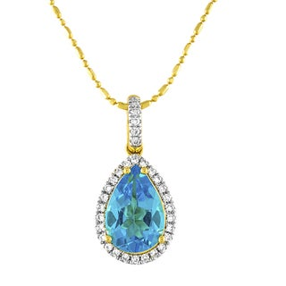 Beverly Hills Charm 14K Yellow Gold Swiss Blue Topaz and 1/5ct TDW Diamond Necklace (H-I, SI2-I1)