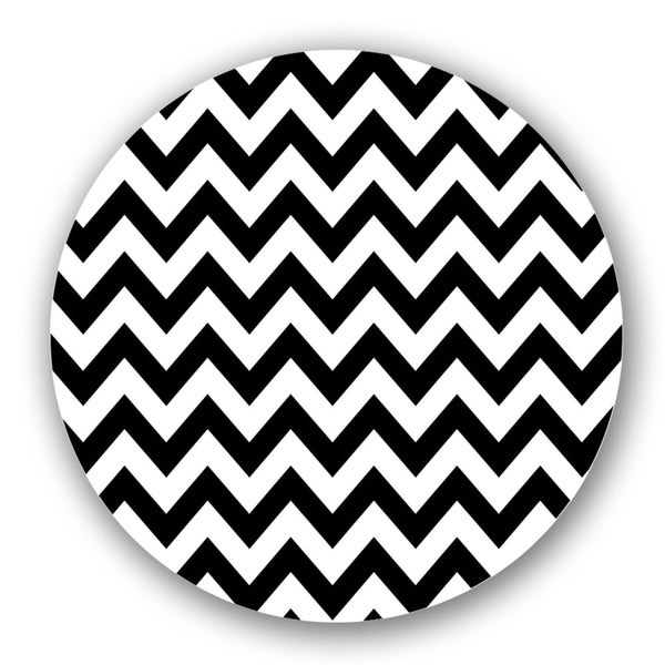 Black/ Off-White Chevron Custom Printed Lazy Susan