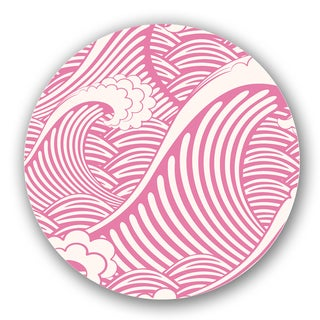 Pink/ Off-white Wave Custom Printed Lazy Susan