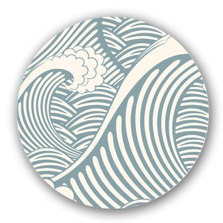 Blue/ Off-White Wave Custom Printed Lazy Susan