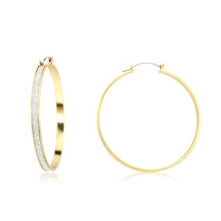 18k Yellow Gold Overlay Silver Glitter Lining Hoop Earrings