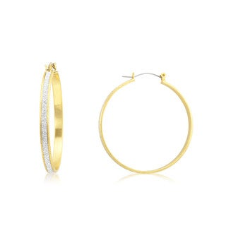 18k Yellow Gold Overlay Glitter Lining Wide Hoop Earrings