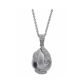 Kabella 18k White Gold 1/3ct TDW Diamond Teardrop Pendant (G-H, SI1-SI2)