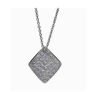 Kabella 18k White Gold 1 1/4ct TDW Diamond Square Pendant (G-H, SI1-SI2)