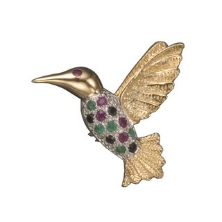 Collette Z Gold Overlay Multicolored Cubic Zirconia Bird Pin