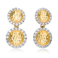 Collette Z Sterling Silver Pave Yellow Cubic Zirconia Drop Earrings - White