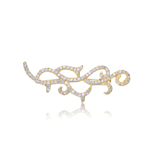Collette Z Gold Overlay Cubic Zirconia Elegant Pin - White