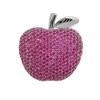 Collette Z Sterling Silver Cubic Zirconia Apple Pin