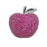 Collette Z Sterling Silver Cubic Zirconia Apple Pin - Pink
